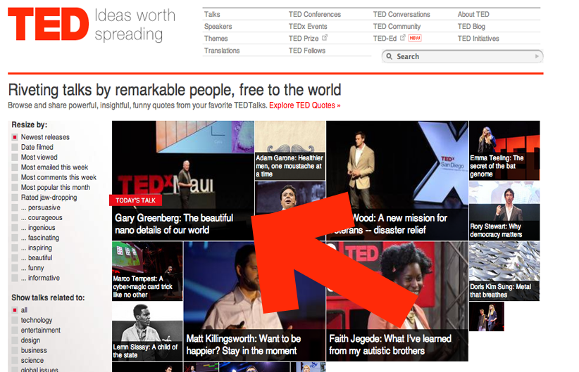 Gary Greenberg on TED Home Page