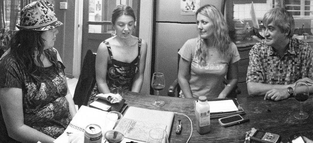 Sara Tekula, Katie McMillan, Danielle Vieth and Peter Liu recording a Living Maui Social podcast